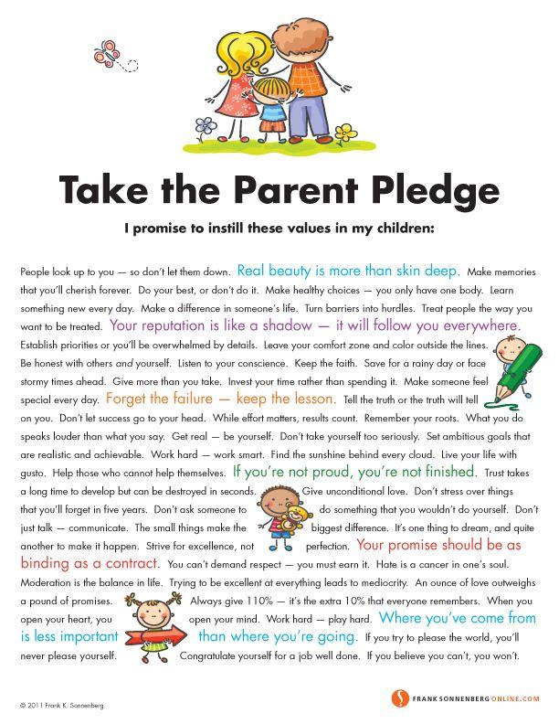 Take the Parent Pledge  | Values to Live By |  www.FrankSonnenbergOnline.com