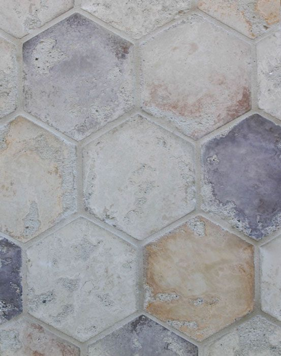 6'' Hexagon Creme Fraiche Blend(signature series)Laticrete 18 Sauterne Grout, Arto