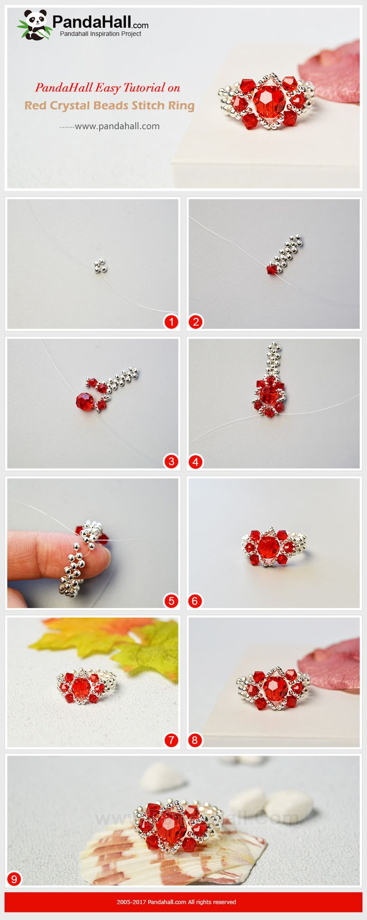 PandaHall Inspiration Project---Red Crystal Beads Stitch Ring PandaHall Beads APP is on, download here>>>goo.gl/jLxpjp 2018 New Year Sale: UP TO 75% OFF,FREE SHIPPING over $349 from Jan 2-23,  Free Coupons: PHENPIN5 (Save $5 for $70+) PHENPIN7(Save $7 for