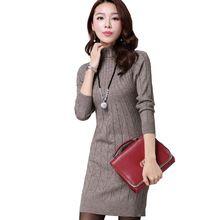 2016 Yeni Varış Kadın Sonbahar/Kış Elbise 5 Renkler Örme Sıcak Kılıf Artı Boyutu S-3XL Rahat kadın elbiseleri vestidos(China (Mainland))