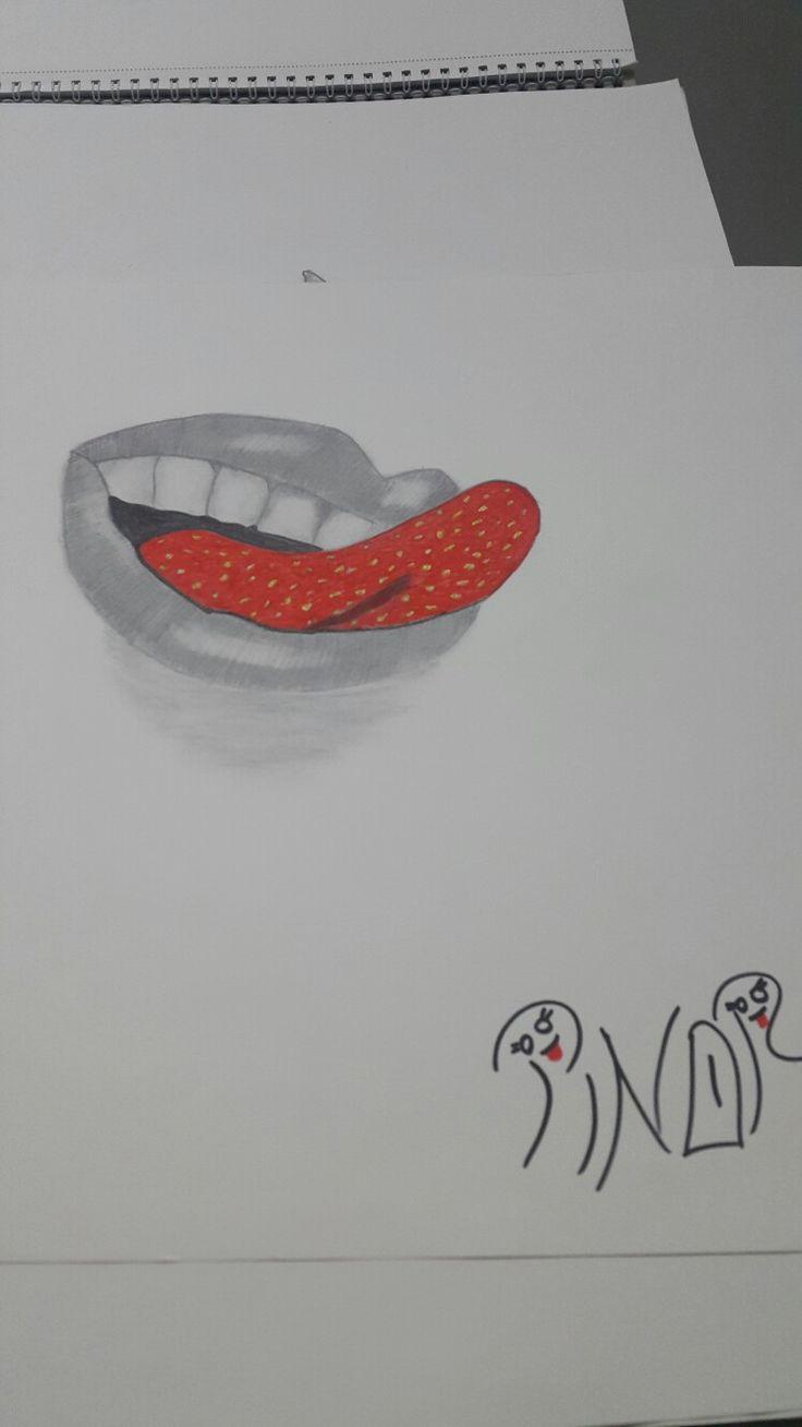 Karakalem dudak cizimi