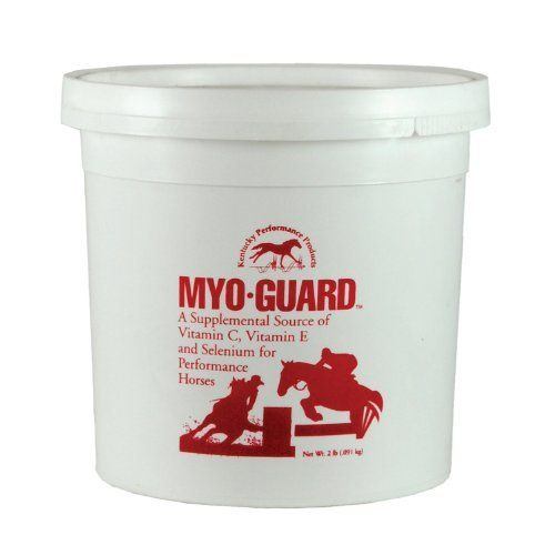 Myo-Guard Supplement For Horses by Kentucky Performance Prod. $27.95. Myo-Guard is a daily dietary supplement designed to ward off muscle problems caused by oxidation in performance horse. To use, Feed 1 Ounce Per Day Mixed In the total Daily Ration. Product contains D-Alpha tocopherol Acetate (Vitamin E), Preserved with ascorbic Acid (Vitamin C), Sodium Selenite, Magnesium Oxide and Wheat Middlings