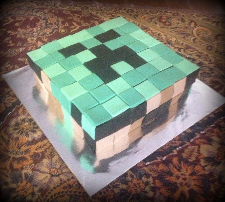 Minecraft cake Choc/caramel marble cake with chocolate ganache