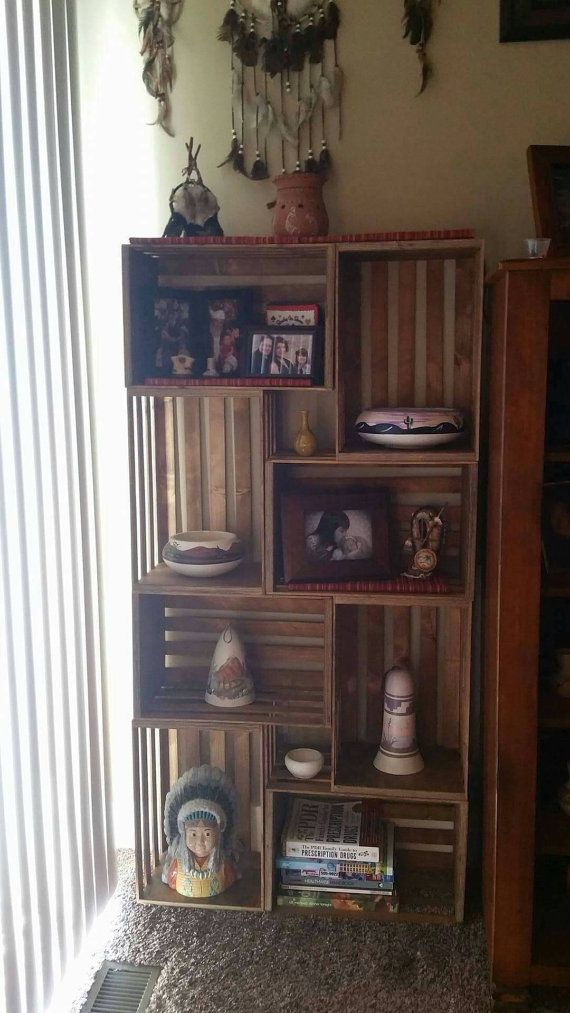 Decorate Your Wall With This Beautiful 8 Piece Crate Bookshelf Each Is 18x12 Inches Approx 9 Deep Stands 5 Feet Tall And 31 Wide
