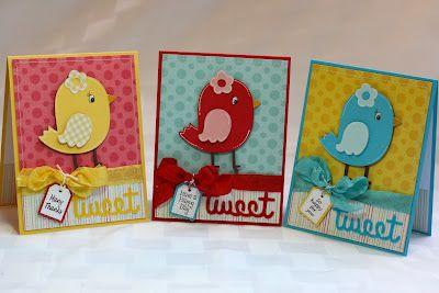 Cute bird cards using Create A Critter cartridge. By Ally at Rock Paper Cricut
