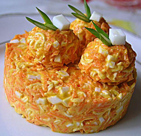 Рецепт салата с вермишелью мивина