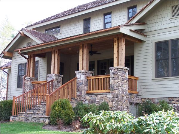 Hand hewn Western Red Cedar porch. Home built by The Pinnacle Group, White Sulphur Springs, West Virginia.