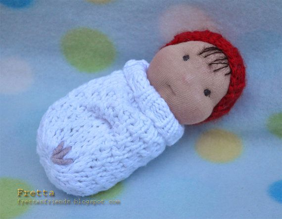 "Fretta's Miniature Waldorf Pocket Doll, Bunting Baby. 5"" tall Waldorf  little doll on Etsy, $18.00"