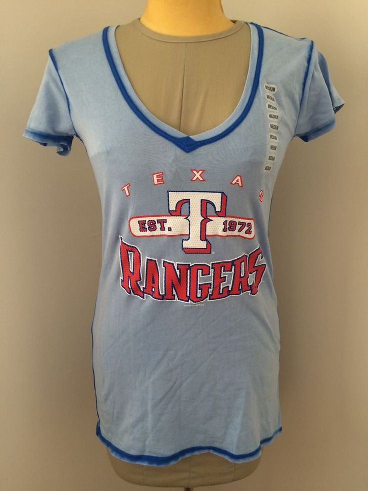 MLB Rangers Texas Ladies Garment Wash V Neck T Shirt Size Small | eBay