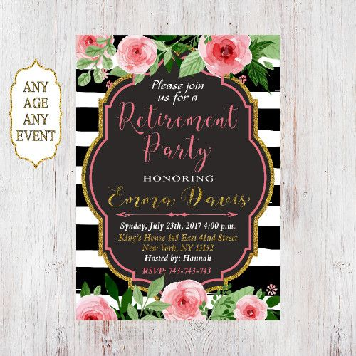 Retirement Party Invitations. Retirement invitation. Retirement Invite