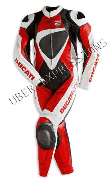 Ducati Corse Perforated 12 Red White Black One Piece Leather Suit