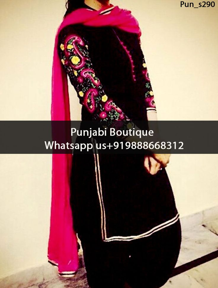 Marvellous Black And Magenta Embroidered Punjabi Suit Product Code: Pun_s290 To order this dress , please call or WhatsApp us at +919888668312 We can design this Punjabi Suit in any color combination or on any fabric (price may vary according to fabric)