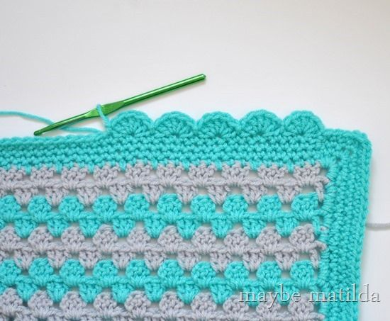 Scalloped edging: PART THREE of Granny Stripe Baby Blanket tutorial by Maybe Matilda. Get more help with your crochet projects in Hooky Buddies www.facebook.com/groups/createsometime Claire x
