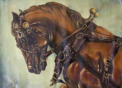One of my paints: A Horse with leather belts & fasteners. 1996. Oil on canvas.