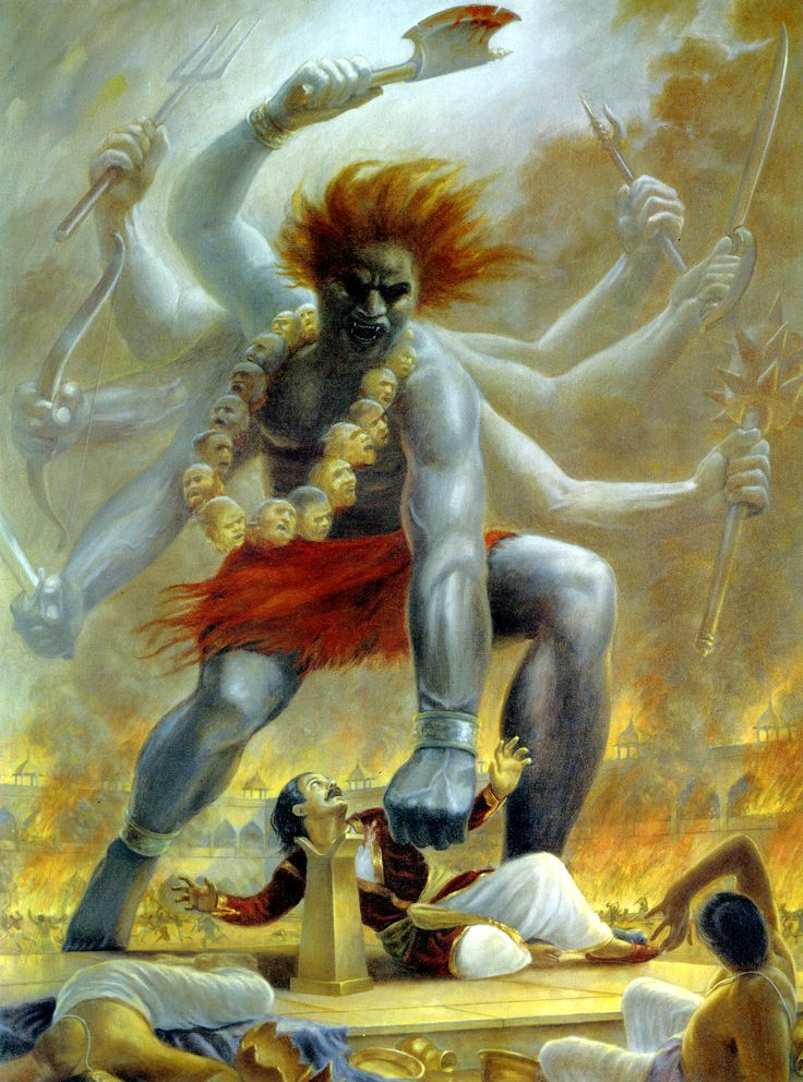 Virabhadra (the demon Lord Siva created) beheads Daksa at the sacrificial arena.