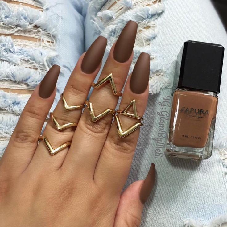 |•| Nails |•| •Brown •Nail Polish •Matte Nails •Midi Rings •Gold Ring •Ballerina Coffin Shape x Credit: IG-@glambymeli                                                                                                                                                      More