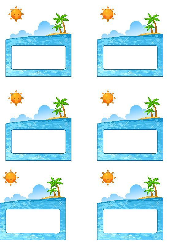beach labels for party snacks   Summer beach party/pool party palm tree Free Printable name tags