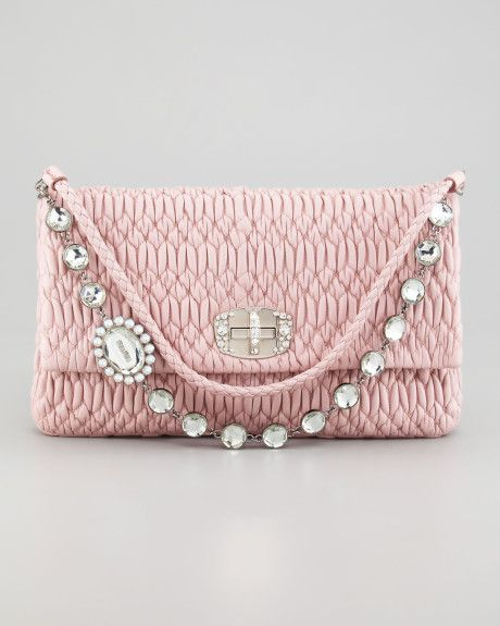 Women S Pink Ruched Napa Leather Crystal Large Bag Clutch Crush Pinterest Bags And