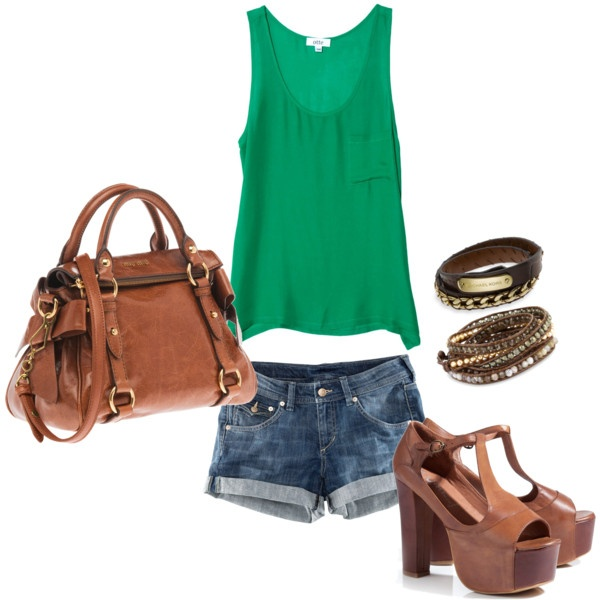 summer outfit. love the green. love the purse. love the shorts. loveee the shoes!! its an easy outfit