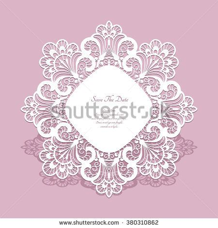 Round paper lace frame, lacy doily, save the date card or wedding invitation template, vector illustration