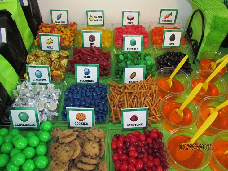 Fun food at a Minecraft birthday party! See more party planning ideas at CatchMyParty.
