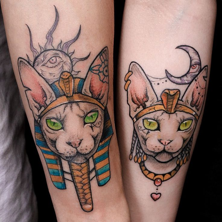 sphynx cat couple tattoo Pharaoh Cleopatra anzo choi
