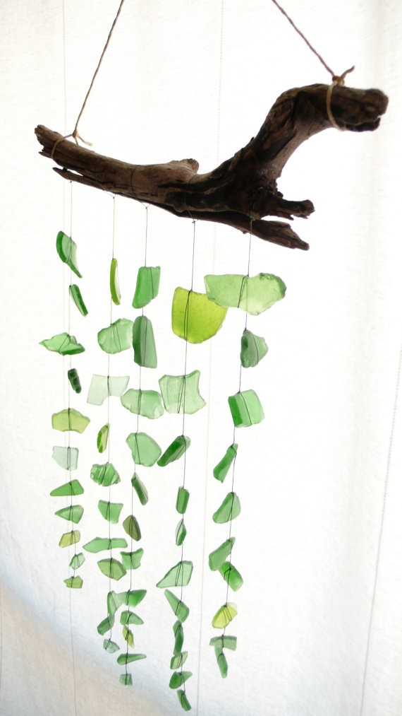 Sea glass, driftwood mobile.