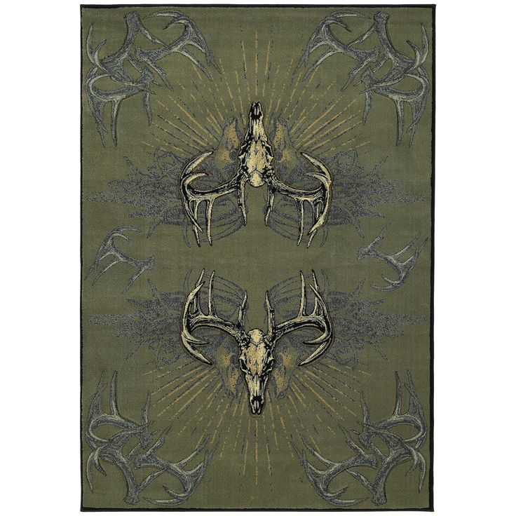 Westfield Home Wildwood Golden Horns Multi Hand-carved Accent Rug