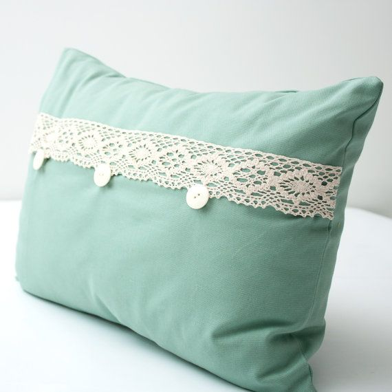 Teal and Lace Decorative Lumbar Pillow Cover WITH INSERT - beige lace teal aqua blue vintage ...