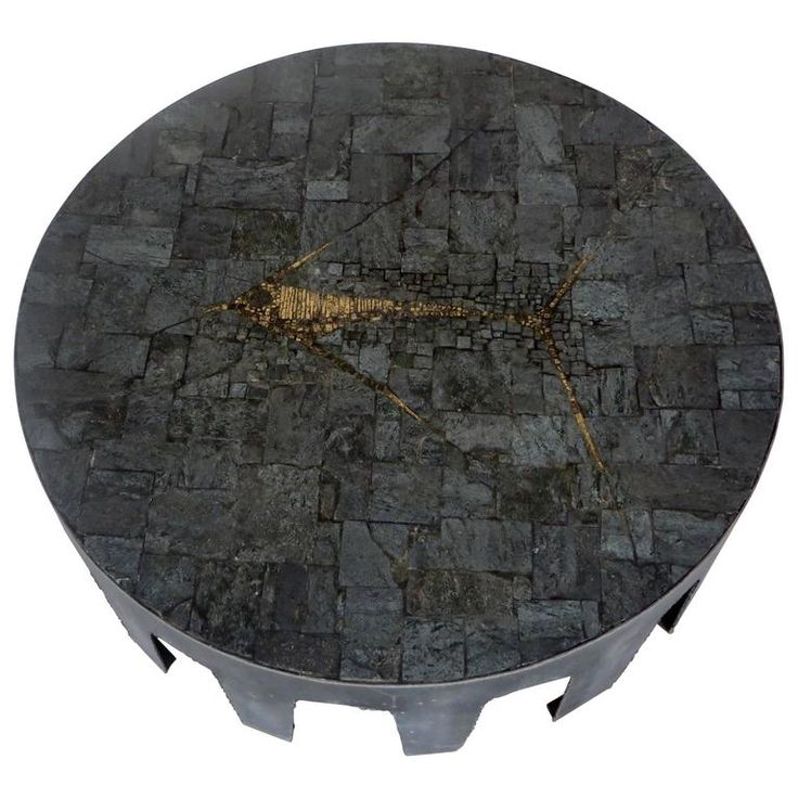 Pia Manu Belgian Round Slate, Pyrite and Iron Coffee Table | From a unique collection of antique and modern coffee and cocktail tables at https://www.1stdibs.com/furniture/tables/coffee-tables-cocktail-tables/