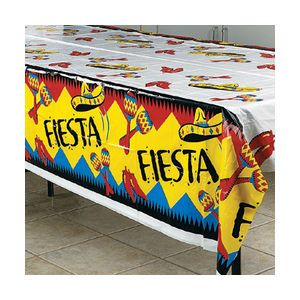 Colourful Fiesta rectangular plastic tablecloth (approx. 137cm x 183cm) - Each
