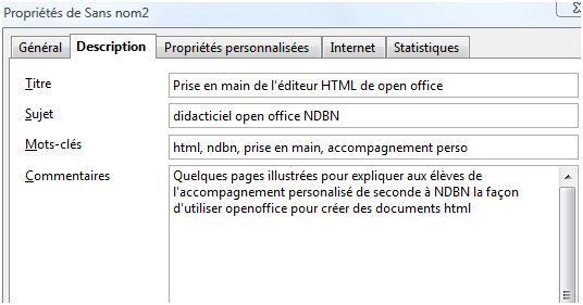 Prise en main de open-office HTML en classe de seconde dans le cadre de l'accompagnement personnalisé
