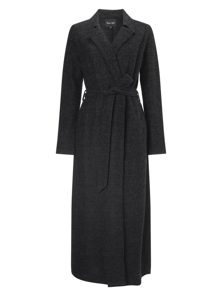 A winter essential, this wool maxi coat features a tie fastening at the waist, small collar and slip pockets. Finished with a split hem for ease of movement.