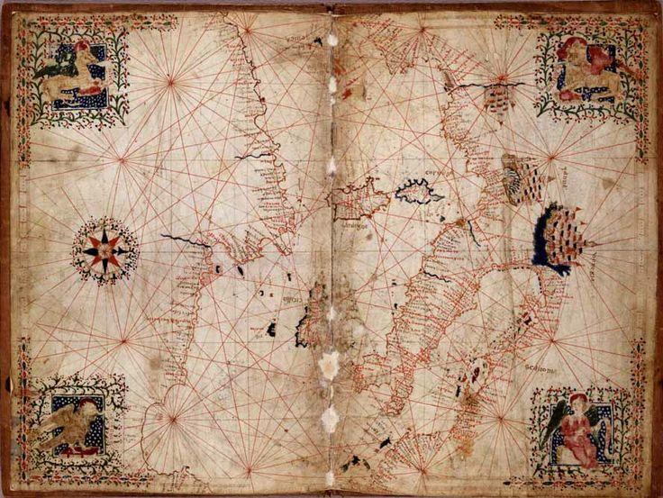 Mediterraneo centrale - Atlante nautico, manoscritto fine XV secolo, dalla Biblioteca Marciana