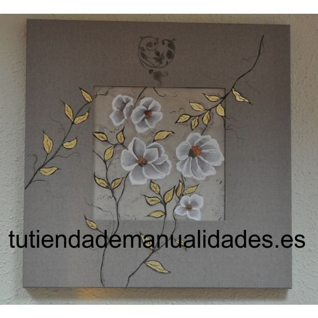 Cuadro de flores realizado con papel de decoupage, pan de oro y pasta de relieve.