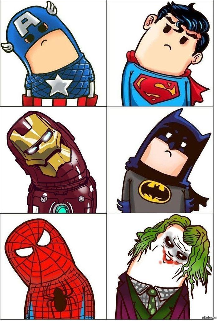Супергеройчики Милашки же:3  мстители, Бэтмен, Джокер, Человек-паук, железный человек, капитан америка, Супермен, баянометр молчи