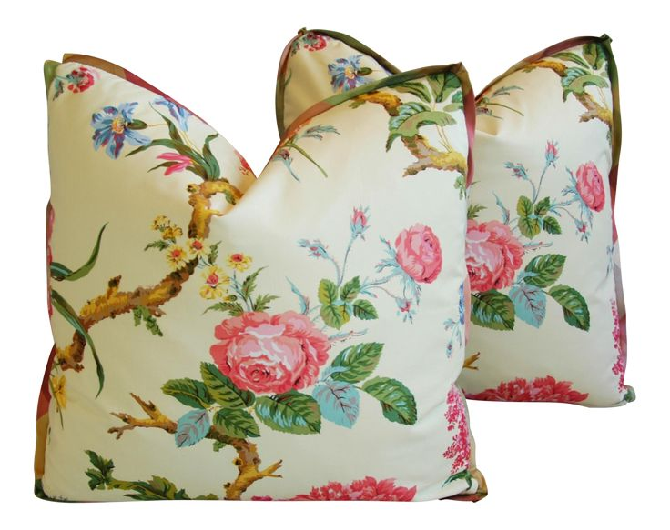 Brunschwig & Fils Coligny Spring Floral Pillows - a Pair | Chairish