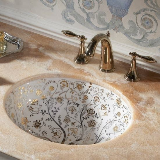 Painted Bathroom Sinks With Floral Design
