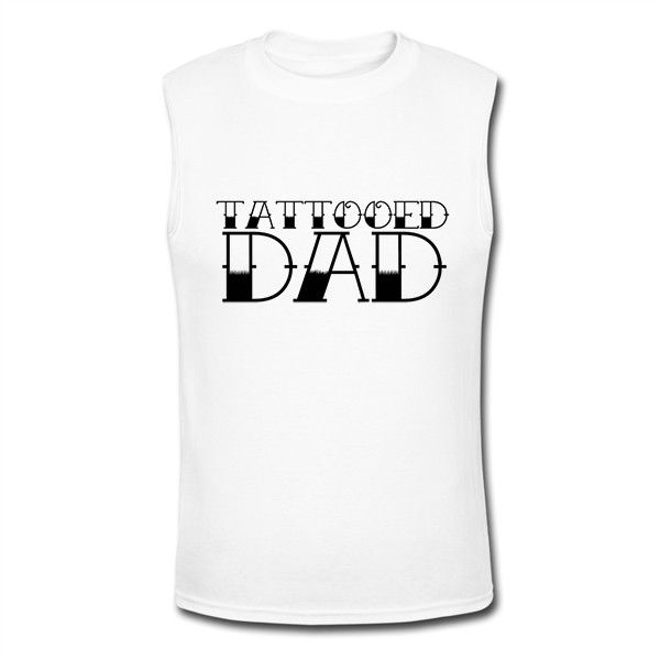 Tattooed Dad Men's Muscle T-Shirt Funny T Shirts, Cool T Shirts,... (35 BAM) ❤ liked on Polyvore featuring men's fashion, men's clothing, men's shirts, men's t-shirts, men's muscle tee shirts, mens sleeveless shirts, mens muscle t shirts, mens tattoo shirts and mens t shirts