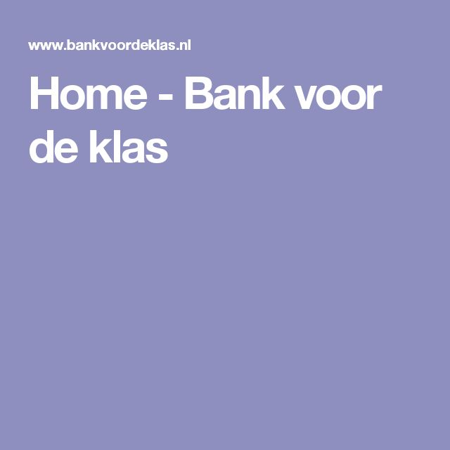 Home - Bank voor de klas