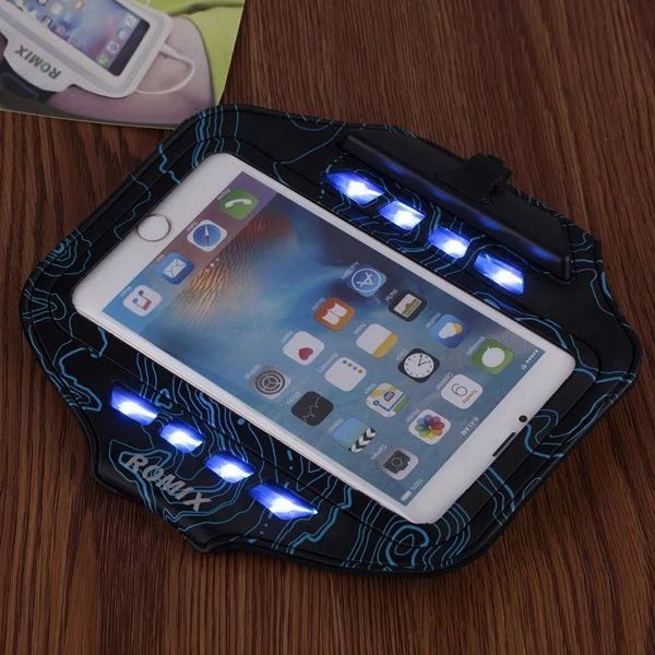 Sale 24% (9.99$) - ROMIX LED Lights Sports Armband Running Cycling Cover Case For 5.5 Inches iPhone 7 Plus 6/6s Plus