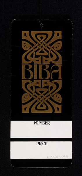Founded by Barbara Hulanicki in the early 1960s, Biba was for a time the most fashionable clothing label in London. The Biba logo was designed by John McConnell, who worked in the London-based design practice Pentagram. The logo encapsulates the Biba aesthetic, which drew inspiration from such sources as Art Nouveau and Art Deco-era Hollywood. Label manufactured 1960s - 1970s.