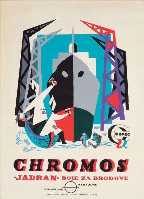 Milan Vulpe, plakat za Chromosove boje za brodove (podvodne i nadvodne), 1950-e.