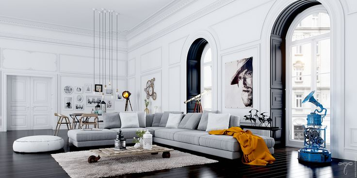 spacious scandinavian living room design