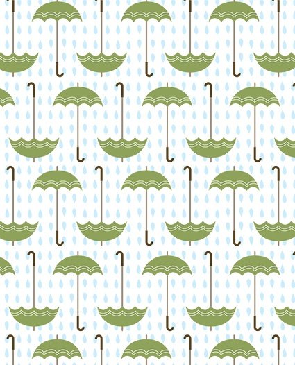 Rainy Day - green umbrellas- my favorite but it is hard to find a green one.