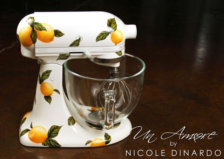 Lemon Themed Custom Painted Kitchenaid Mixer By