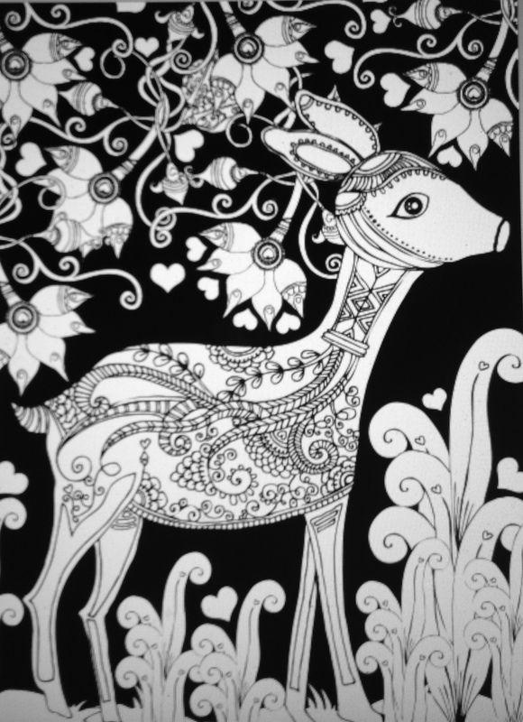 Coloring Sheets Book Colouring Moose Deer Black Backgrounds Zentangle Doodles Design