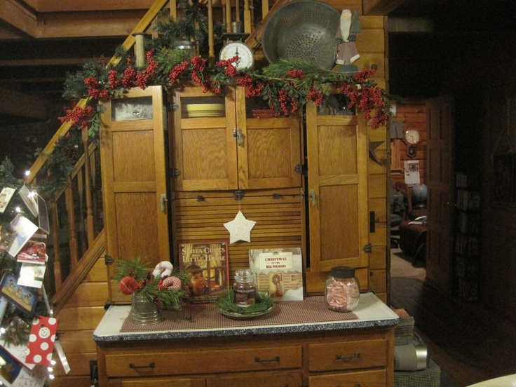 103 best hoosier cabinets images on pinterest hoosier for Country cabin christmas