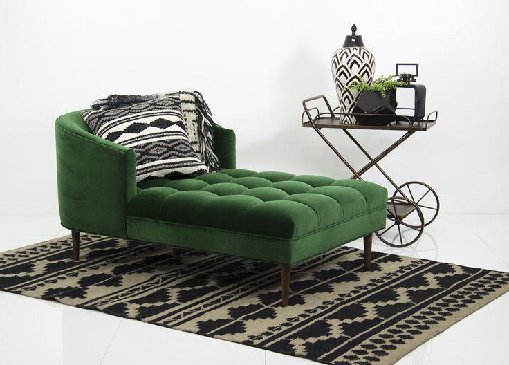 St. Bartu0027s Chaise Lounge In Emerald Velvet