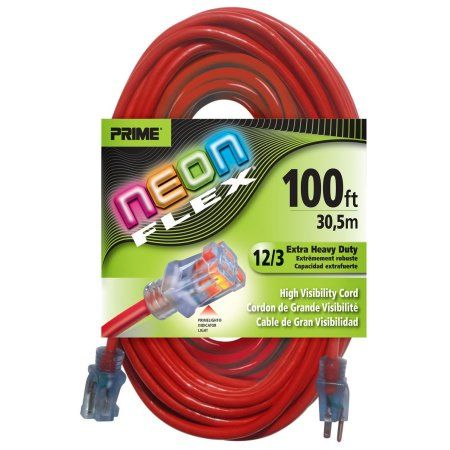 Prime Wire & Cable NS515835 100 Feet 12/3 Sjtw Flex High Visibility Extra Heavy Duty Outdoor Extension Cord with Prime Wire & Cable light Indicator Light, Neon Red, 3 Pack